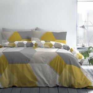 Hexagon Geometric Duvet Cover Quilt Bedding Set Double Mustard Ochre Yellow Grey