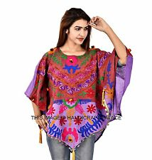 New Handmade Women's Poncho Boho Tunic Embroidered Top Plus Size Kimono Sleeves
