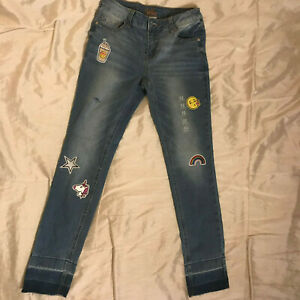 Justice Simply Low Jegging Jeans w/Embroidered Patches - Girls Size 12 -NWT WOW!