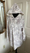 Soft Surroundings Ivory Paisley Velour Hoodie Tunic Top Large/Extra Large