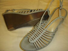 B Makowsky Willow Leather Strappy Platform Wedge Heel Sandals 8.5 M Denim Blue r