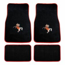 4 PIECE RED MUSTANG HORSE W/RED OUTLINE CARPET FLOOR MATS SET