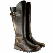 FLY LONDON MOL BROWN LEATHER KNEE HIGH WEDGE BOOTS UK 4 EUR 37 USA 6 RRP £160