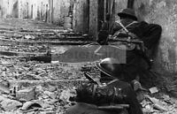 WWII photo Soldiers of the 3rd Canadian Infantry Brigade in street fighting  990