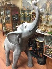 6 Ft Outdoor Gray Fiberglass Baby Elephant Garden Statue Huge Animal Sculpture