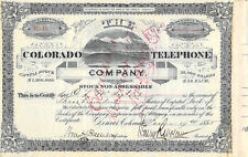 1885 Colorado Telephone 300 Shares Charles L Mcintosh Denver Henry Wolcott Sign