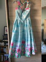 Lindy Bop Floral Halterneck Dress Size 10 Rockabilly Pin Up