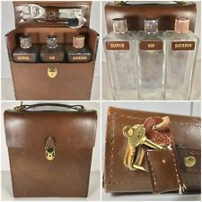 Vintage Travel Bar Leather Case Glass Liquor Decanter Scotch Bourbon Gin Set 3