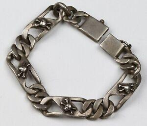 Skull BONEs Bracelet STERLING Silver 999 or 666 Massive 51.92g MANs BRUTAL Style