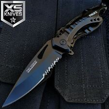 """8"""" Tac Force Tactical POLICE Spring Assisted Black RESCUE Folding Knife OUTDOOR"""