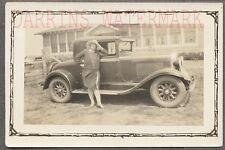 Vintage Car Photo Woman w/ 1929 Oldsmobile Automobile 717273