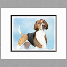 English Foxhound Dog Original Art Print 8x10 Matted to 11x14
