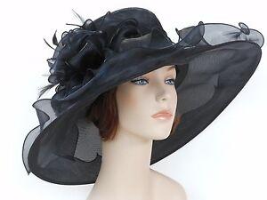 New Church Kentucky Derby Wedding Organza Wide Brim Dress Hat 3546 Black