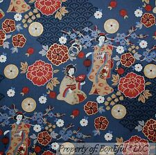 BonEful Fabric FQ Cotton Quilt Blue Red White Gold Geisha Girl Lady FLOWER Tree