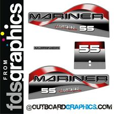 Mariner 55hp lightning two stroke outboard engine decals/sticker kit