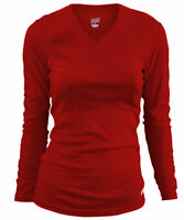 Soffe Women's Long-Sleeve V-Neck Tissue T-Shirt