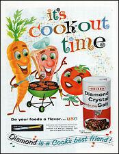 1960 Animated vegetables meat barbecue Diamond Salt vintage art print ad  adL22