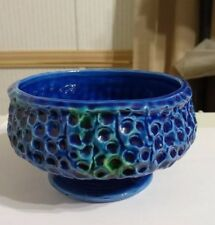 Vintage Honey comb  Blue  Compote Candy Dish Treasures of Spain by Brody
