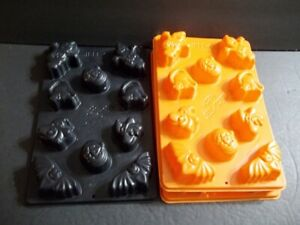 Lot of 3 JELLO JELL-O HAPPY JELL-OWEEN Molds Jigglers Shots Ghost Bat Cat Witch