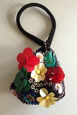 Asos Black Small Pouch Bag With Multicoloured 3D Flowers Made In Chelsea BNWT