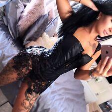 Sexy Black Lingerie Faux Leather Lace Corset Lingerie M #2891