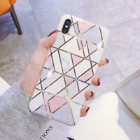For iPhone 11 Pro Max XS XR 8 7+ Geometric Splice Marble Case Soft Pastel Cover