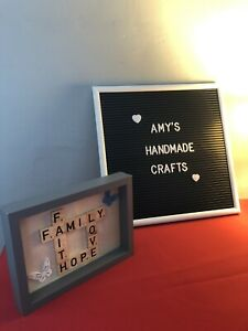 Scrabble Art Picture Frame handmade. Family, Love, Hope And Faith