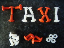 TAXI SIGN NUTS AND BOLTS CAB ROOF LIGHT NYLON FASTNERS WHITE / RED FAST DELIVERY