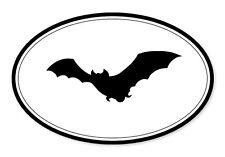 "Bat Oval car window bumper sticker decal 5"" x 3"""