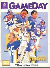 Minnesota Vikings Detroit Lions Gameday Nfl Game Program 9/13/87 Gary Zimmerman