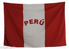 BANDIERA PERU' CON SCRITTA FLAG NASTRINI 100 x 140