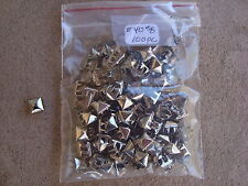 "100 Pcs Silver Square Nail Head Studs #40 Raised Center Point Crafts 3/8"" NIB"