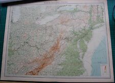 1922 LARGE ANTIQUE MAP- UNITED STATES-NORTH EASTERN STATES