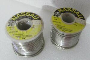 2X NASSAU # 7651 Solder Spool 1 LB. STATEN ISLAND .062 Diameter Vintage