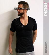 Pistol Boutique Fashion Black Deep V neck SHOTGUN Distressed t-shirt SALE Large