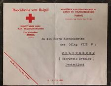 1941 Bruxelles Belgium Red Cross To Juliusburg Germany POW Camp Cover Oflag 8C