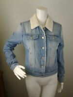 NWT Women's Ashley Vintage Charm Jacket Sherpa Lined Blue Size Small Coat Denim