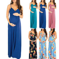 Women Pregnancy Maternity Summer Beach Solid Floral V Neck Sleeveless Long Dress