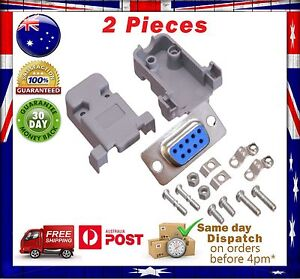2 Sets DB9 RS232 Female Serial Port Connectors 9 pin - Solder Type + Shells Kit