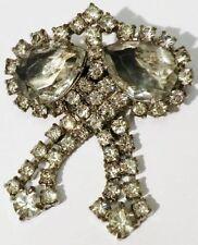 broche bijou vintage poire pampille cristaux diamant couleur argent *3515