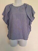 Womens Zara Blue White Stripe Button Detail Boxy Ruffle Blouse Top M.