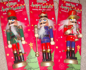 Nutcracker Christmas Tree Ornament 3 Pc Lot  Wood Wooden NEW Green - Red - Blue