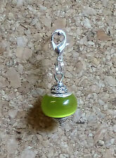 LOVELY 925 SILVER CORE MURANO GLASS BEAD TIBETAN SILVER CLIP ON CHARM GREEN j