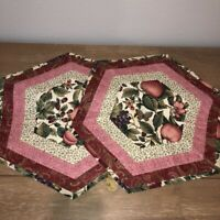 Handcrafted Patchwork Quilted Hexagon Placemats Set 2  Fruits Berries Rose Green
