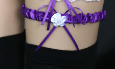 1 jarretière satin mariage  coloris violet : LIVRABLE DE SUITE