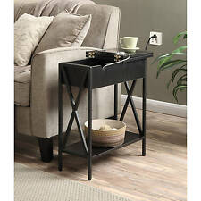 Side End Table Flip Top Storage Drawer Shelf Electric Charging Station USB Port