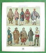 COSTUME South America Natives Chile Creoles - COLOR Litho Print by A. Racinet