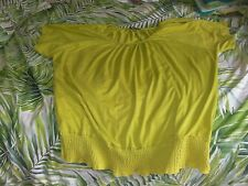 Katies Yellow/ Lime Stretchy Peasant Top (Size XXL/ 20)