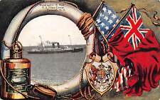 NOVA SCOTIA, CANADA, SS PRINCE GEORGE, FLAG, LANTERN & L.R. BORDER used 1907