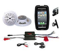 "New Boat Bike Marine ATV iPod Input Amplifier, 5.25"" White Speakers, Phone Case"